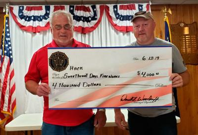 "Legion Post 202 Gambling Manager Dave Woodruff (left) hands the ""big"" check to Hackensack Chamber President Chuck Trosen."