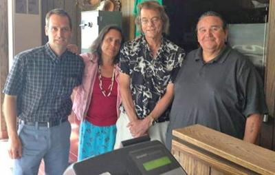 Pictured are (from left) Nate Dorr, NMF, Winona LaDuke, WELRP director, Daryl Frazier, WELRP CFO, and Bill May, Red Lake Nation Fisheries manager.