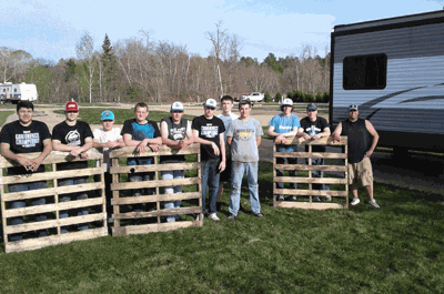 In late May, the Walker-Hackensack-Akeley varsity baseball team worked at Israel and Nicole Moe's Leech Lake RV and Marina near Bluewater Lodge Resort and helped install numerous loads of sod.