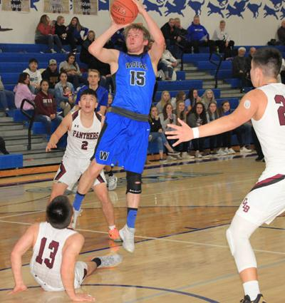 Connor Craven puts up this shot in the Wolves' home game with Cass Lake-Bena Monday.