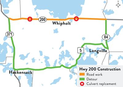 Hwy. 200 construction with detour route and culvert replacements