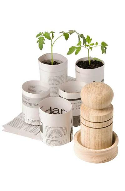 Paper pot makers make it easy to transform newspaper into biodegradable plant pots that are perfect for starting seeds. Photo courtesy of Gardener's Supply Company