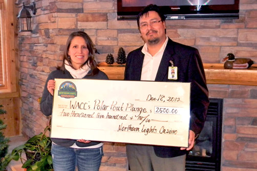 Great Brad Michaud Of Northern Lights Casino Hotel Presents A Check For $2,500 To  WACC Past President Melanie Rice. | | Walkermn.com