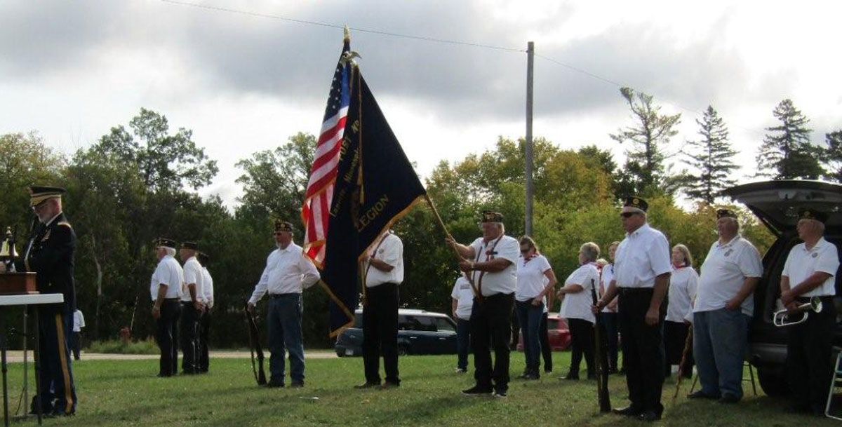 Laporte Legion Post members present the colors during the ceremony.