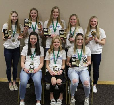 WHA volleyball players receiving conference and team were awards were (front row from left) Paige Hildebrandt, Elizabeth Naugle, Aleah Tabbert, (back) Abigale Strandlie, Katie Sagen, Kali Oelschlager, Allyson Sea and Karalyn Oberfell.