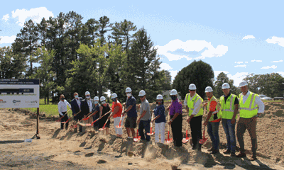 Pictured are WHA administrators, school board members, NORSON and Sourcewell personnel taking part in a groundbreaking ceremony.