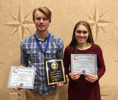 The Region 8 A Triple A Awards Banquet was held Feb. 5 at Shooting Star Casino in Mahnomen with Walker-Hackensack-Akeley seniors Tom Hansen and Brianna Raddatz nominated by coaches and faculty members.
