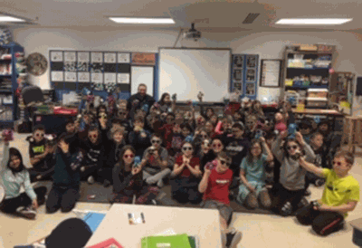 Walker-Hackensack-Akeley third-grade students received stuffed animal reading buddies and sunglasses to encourage them in their reading goal.