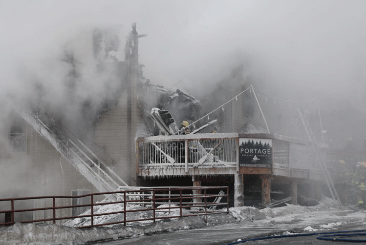 Despite the efforts of 35 firefighters, the fire destroyed the popular downtown Walker business.
