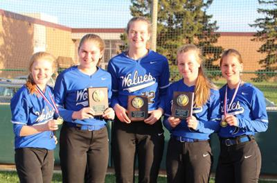 The five Walker-Hackensack-Akeley varsity softball players selected as all-conference were (from left) Lizzie Naugle, Bri Raddatz, Megan Benjamin, Ally Sea and Elise Rice.