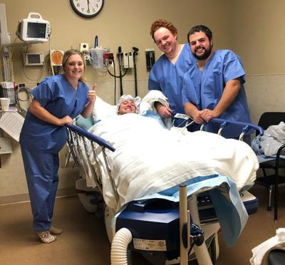 Hunting group at hospital (from left) Brooke Waldorf, Cody Lisson, Alec Stark and Raymond Rohl.