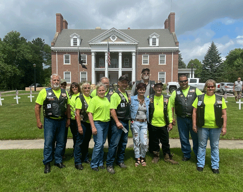 A group of Legion Riders traveled to the Nest July 25 to tour the facility and make the presentation.