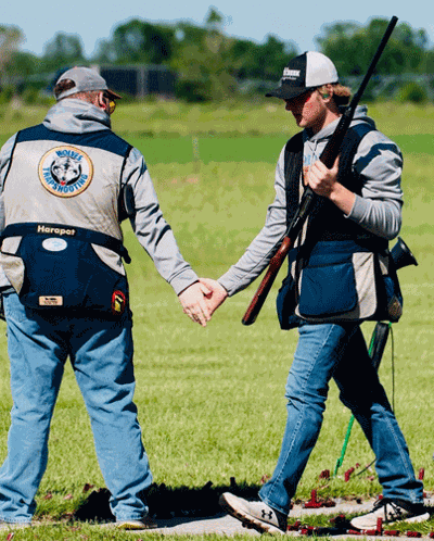 Tanner Rivard (right) in action at the Clay Target League championship in Alexandria.