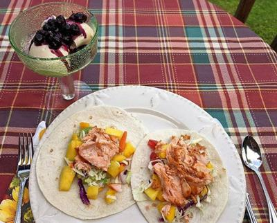 BBQ grilled salmon tacos