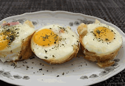 Puff pastry egg brunch cups