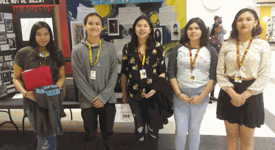 """Pictured are (from left) Rozalina Hunt-Morris, """"The Tragedy and Triumph of the Dawes Act of 1887;""""  Josh Kingbird, """"A Triumph for Tribal Control;""""  Katrina Ducheneaux, """"Native Americans Path to Citizenship;""""  Helainea Roybal, """"Red Cloud's War;"""" and Cecelia Meat, """"Van Gogh."""""""