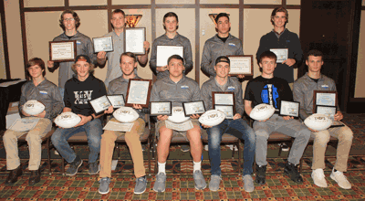 WHA football award winners and seniors recognized were (front row from left) Alex Hein, Josh Kuhlman, Connor Craven, TJ Smith, Ethan Anderson, Cole Rasmussen, Riley Welk, (standing) Jack Slagle, Gavin Johannsen, Jackson MacFarlane, Steven Hausken and Mason Schneider. Not pictured is Tom Hansen.