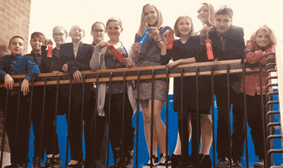 Those competing were (from left) Hunter Wright in Discussion, Tye Gamache in Great Speeches, Lilly Ewert red ribbon in Creative, Thalia Meyer and Hailey Hallett in Extemporaneous Reading, Izabel Padgett red ribbon in Humor, Caitlyn Stute second place and blue ribbon in Storytelling, Anna Katzenmeyer red ribbon in Humor, Autumn Howg (varsity team), Wyatt Lahr red ribbon in Storytelling and Parker Aagard in Discussion.