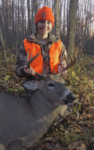 Lauren Frank of Shakopee shot this 11-point buck during the 2019 youth firearm season while hunting in Pine County.