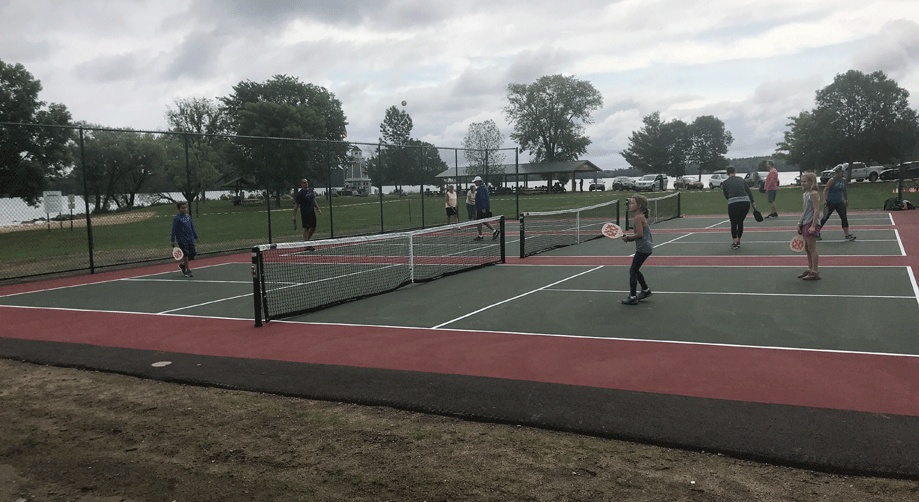 Three outdoor pickle ball courts are open for use in the Walker City Park.