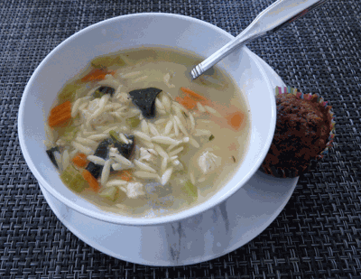 Lemon orzo soup with chicken and spinach, and morning glory muffin