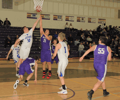 Laporte's Chris McDougall scores on this play during a recent home game.