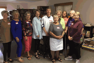 Pictured are Hackensack Library members (front row from left) Diane Zaske, Kathy Suker, (back) Nancy Mullin, Carole Williams, Sue Eikenberry, Maggie McGill, Tim Dahl, Jenny Jorgensen, Judy Rogosheske and Sharon Curo.