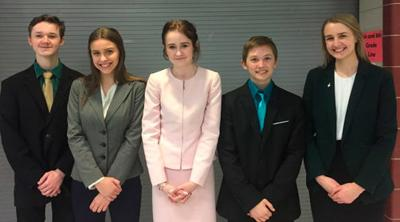 The five WHA students competing at the NSDA Tournament were (from left) Logan Wales, Jayda Dickson, Willow Damar, Dylan Johnson and Molly Massar.