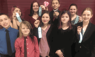 Those competing at the meet were (front row from left) are Hunter Wright in Discussion, Parker Aagard in Discussion, Madi Rzab ribbon in Humor, Ila McDouble in Creative, Thalia Meyer ribbon in Extemporaneous Reading, (back) Caydence Rzab ribbon in Prose, Addisen Freeman ribbon in Drama, Wyatt Lahr first place in Storytelling and Izabel Padgett ribbon in Poetry.