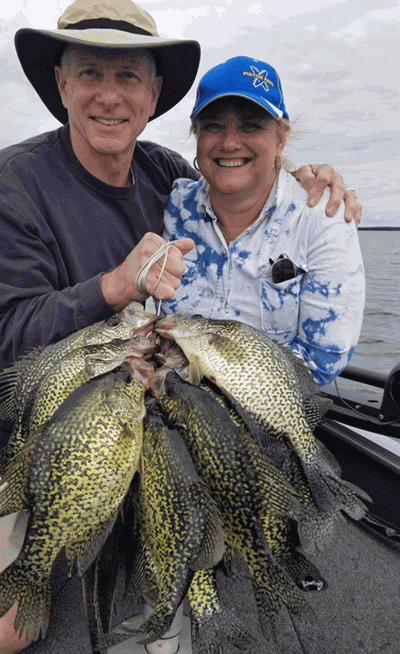 Look to mid-depths for summertime crappie success like Dave and Deb did.