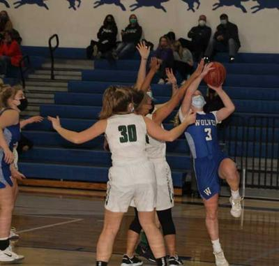 Ally Sea looks to score on this first-half shot against Roseau.