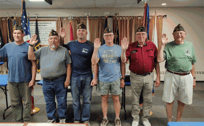 The new officers for Case-Munnell Walker VFW Post 2701 are (from left) Commander Ryan Pels, Vice Commander Lee Turney, Quartermaster Jeff Woodford and Trustees Pete Opheim, Doug Sacre and Glenn Bakeberg.