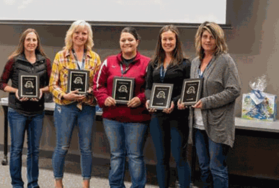 Pictured with their awards are (from left) Sarah Beierman, Crow Wing County; Ann Sadlemyer, Douglas County; Heather Luebesmier, Todd County; Shannon Buchholtz Becker County; and Jean Smykalski, Cass County. Not present for the picture were Amelia Hutson, Wadena County; and Desirae Welle, Morrison County.