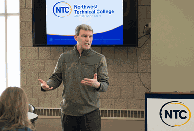 Darrin Strosahl, vice president for academic affairs at Northwest Technical College, speaks at the March 12 listening session with regional technology and manufacturing leaders.