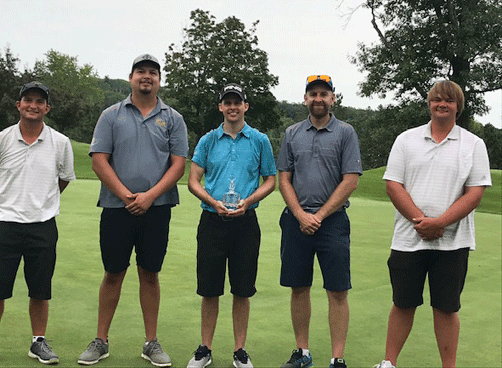 The top three finishers at the 81st Tianna Shortstop Tournament were (from left) Aaron Schnathorst tied for third, Dakotah Brunelle second, Jon Sauer first, and both Adam Riddering and Chris Swenson tied for third.