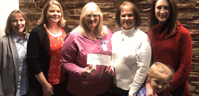 Pictured with the check are (from left) Sanford Health Foundation Director, Cynthia Olson, Calli Ferdig, Cancer Services Director Shari Hahn, Cindy Holter, Kenadi Winter and Stephanie Winter.