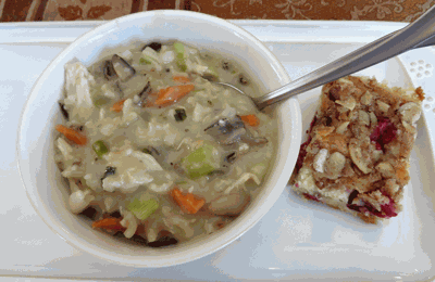 Turkey, mushroom and wild rice soup, and cranberry eggnog coffee cake