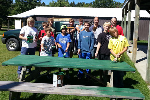 Boy Scouts Stain Picnic Tables At Akeley Pavilion News - 12 person picnic table