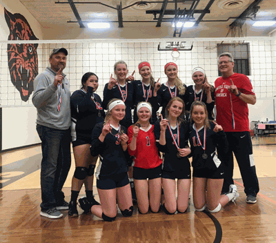 Playing on the team were (front row from left) Ally Sea, Lizzie Naugle, Laney Pinski, Anna Likens, (back) Coach Tim Tabbert, Mackenzie Moore, Katie Sagen, Kalli Oelschlager, Aleah Tabbert, Abbi Strandlie and Coach Pete Naugle. The other seven teams involved were from Detroit Lakes, Nevis, Browerville, Fosston, Perham and Park Rapids.
