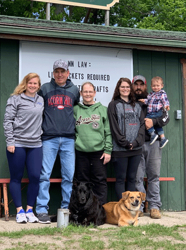Pictured are (from left) Shannon, Jeff, Mary, Bekah, Kyle and Jackson, and dogs Brutis and Zoey.