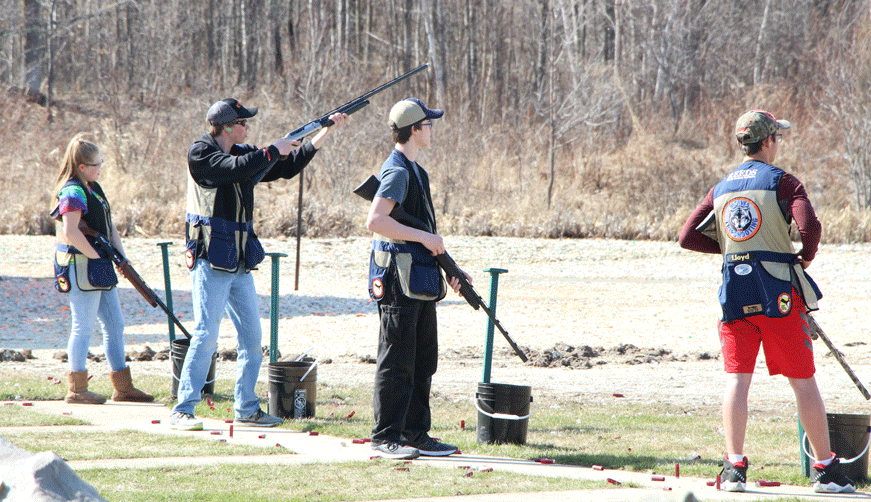 Members of the Wolves Trapshooting Team during a recent conference competition.