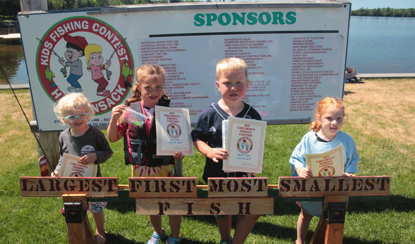 (Zero-5 years old)Jocelyn (from left)caught the largest fish (5.2 ounces), Elyn the first, Cullen the most fish (9) and Anna the smallest fish (2.25 inches).