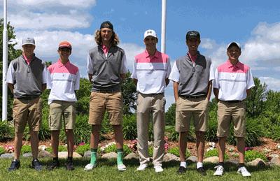 The WHA boys' golf team finished fifth in the Class A State Meet. Pictured are (from left) Logan Arndt, Tanner Schneider, Cody Sagen, Rece Wiedmann, Mason Schneider and Trevor Johnson.