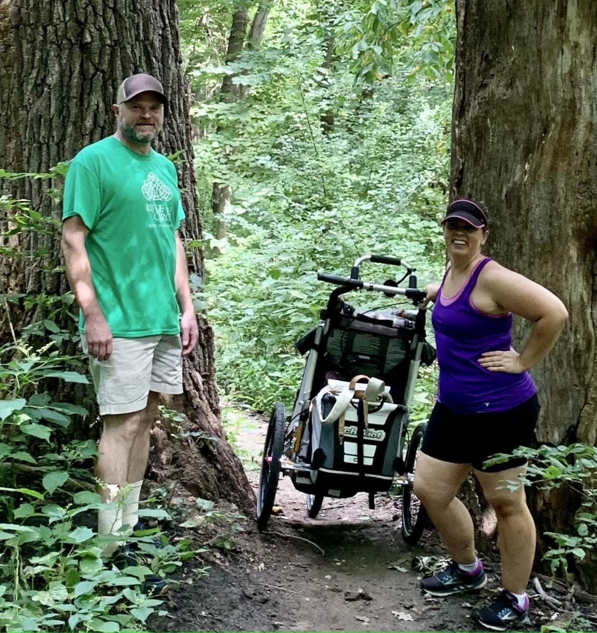 Chris Rea and Erin Dietrich on a training hike.
