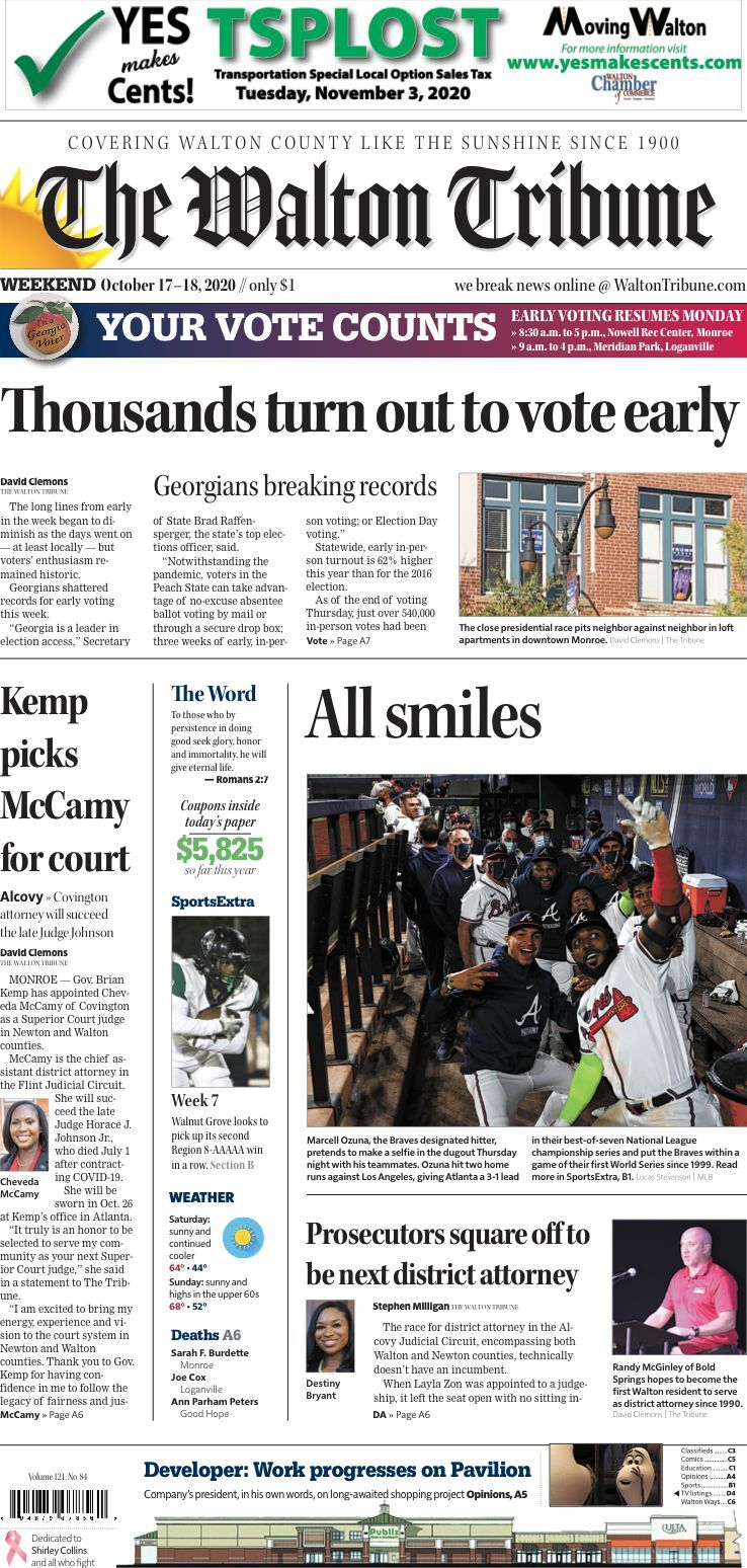 Walton Tribune Front Page Oct. 17-18, 2020