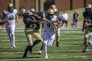 <p>Loganville Christina's Keon McGhee delivers a brutal stiff arm to a Notre Dame Academy defender during the Lions 27-14 win over the Irish Saturday in Duluth.</p>