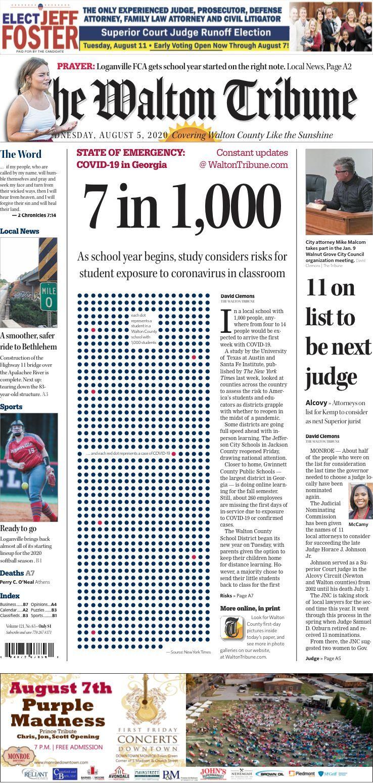 Walton Tribune Front Page Aug. 5, 2020
