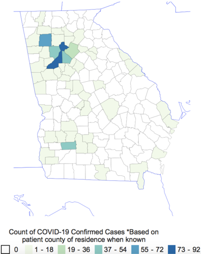 COVID-19 cases in Georgia as of noon Saturday, March 21, 2020