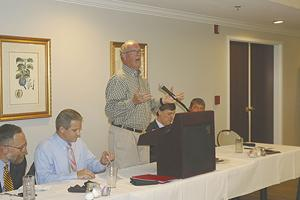 <p>Ben Garrett addresses the crowd, imploring them to support the United Way.</p>