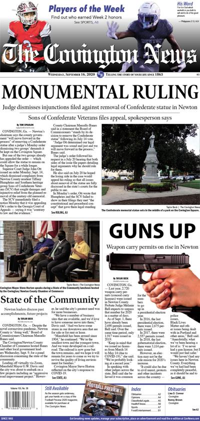 Covington News Front Page Wednesday, Sept. 16, 2020